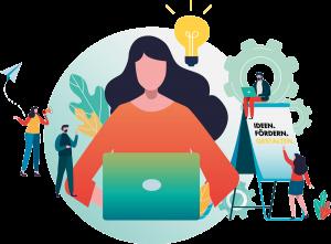 Illustration, Frau mit Laptop und Glühbirne, jetzt bewerben und Ideen einschicken