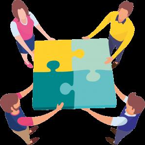 Illustration, vier Personen mit Puzzleteilen