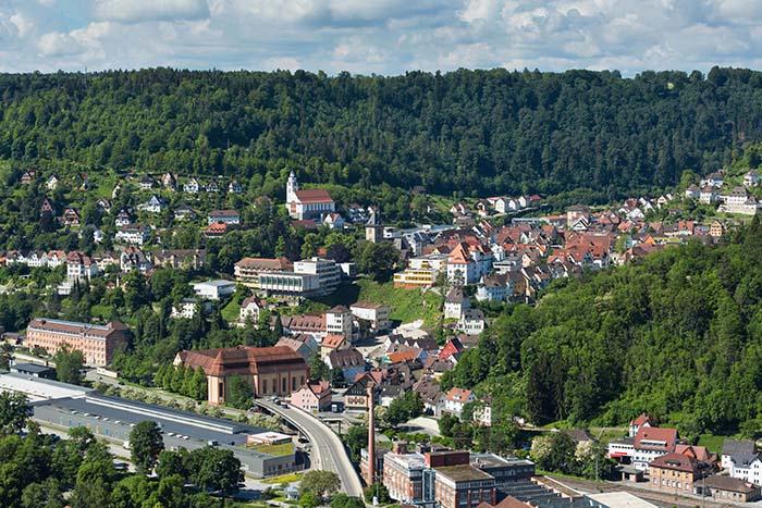 Ausblick auf Stadt Oberndorf am Neckar in Baden-Württemberg